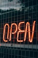 Open, neon lights
