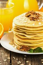 Preview iPhone wallpaper Pancakes, nuts, orange, drinks