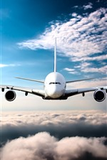 Preview iPhone wallpaper Passenger plane front view, flight, clouds