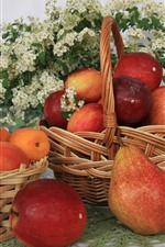 Preview iPhone wallpaper Pears, apples, apricots, basket, fruit