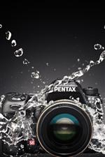 iPhone fondos de pantalla Cámara Pentax, salpicaduras de agua.