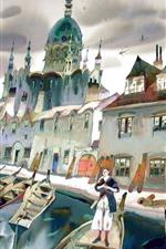 Preview iPhone wallpaper Pier, houses, boats, river, bridge, city, art painting