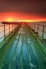 Pier, sea, lighthouse, sunset