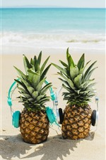 Preview iPhone wallpaper Pineapples, headphone, beach, sea