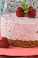 Preview iPhone wallpaper Pink cake, cream, strawberry