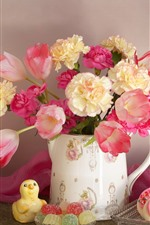 Preview iPhone wallpaper Pink flowers, tulips, candy, cakes, clock
