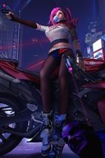 Preview iPhone wallpaper Pink hair girl, motorcycle, gun, night, city