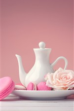 Preview iPhone wallpaper Pink macaroon, cakes, kettle, roses