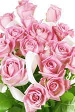 Preview iPhone wallpaper Pink roses, bouquet, white background
