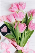 Preview iPhone wallpaper Pink tulips, bouquet, cake, love hearts