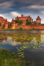 미리보기 iPhone 배경 화면 폴란드, 말보르,하는 Marienburg 성, 강, 울타리
