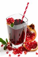 Suco de romã, copo de vidro