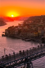 Preview iPhone wallpaper Porto, Portugal, city, river, bridge, sunset