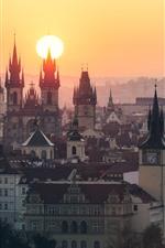 Preview iPhone wallpaper Prague, Czech Republic, city, buildings, sunrise, morning