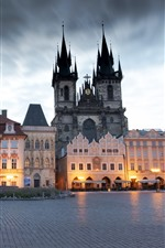 Preview iPhone wallpaper Prague, Czech Republic, city, square, buildings, statue