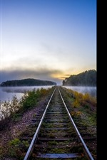 Preview iPhone wallpaper Railroad, river, fog, morning