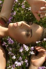 Preview iPhone wallpaper Red skirt girl lying on flowers, sunlight