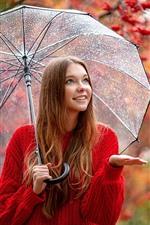 Menina camisola vermelha, sorriso, guarda-chuva, chuva