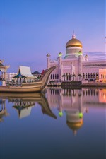 Preview iPhone wallpaper Royal mosque, Brunei, city, boat, river, dusk