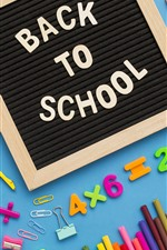 Preview iPhone wallpaper School study accessories, pencil, scissors, pen, numeric