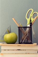 Preview iPhone wallpaper Scissors, pencil, book, apple, still life