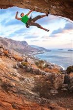 Preview iPhone wallpaper Sea, cave, climber, extreme sport