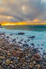Preview iPhone wallpaper Sea, coast, stones, cobblestone, water, foam