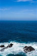 Preview iPhone wallpaper Sea waves, foams, blue, rocks