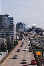 Preview iPhone wallpaper Seattle, city, roads, cars, traffic, USA