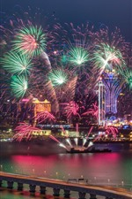 Preview iPhone wallpaper Shanghai, beautiful fireworks show, river, bridge, night, China
