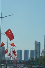 Shenzhen, city, road, cars, flags, buildings, China
