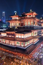 Cingapura, buddha, dente, relíquia, templo, e, museu, noturna, cidade, luzes