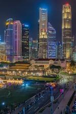 Distrito financeiro de Singapura, arranha-céus, cidade, noite, luzes