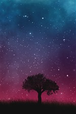 Preview iPhone wallpaper Single tree, grass, starry, sky, night