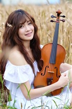 Preview iPhone wallpaper Smile Asian girl, violin, wheat field