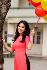Preview iPhone wallpaper Smile Chinese girl, long hair, balloons