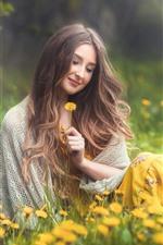 Smile girl, brown hair, yellow flowers, spring