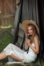 Preview iPhone wallpaper Smile young girl, white skirt, hat, sunflowers, summer