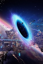 Preview iPhone wallpaper Space, black hole, planet, spaceship