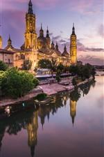 iPhone fondos de pantalla España, Zaragoza, catedral, rio, luces, noche