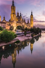 Spain, Zaragoza, Cathedral, river, lights, night