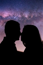 Starry, night, couple kiss, silhouette
