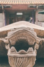 Preview iPhone wallpaper Stone turtle, temple