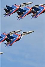 Preview iPhone wallpaper Su-30CM multi-role fighter, flight show