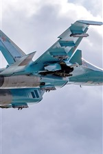 Preview iPhone wallpaper Su-34 fighter, bomber, flight, sky, clouds