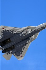 Preview iPhone wallpaper Su-57 multi-role fighter flight, blue sky
