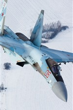 Preview iPhone wallpaper Sukhoi Su-35S fighter flight, snow, winter