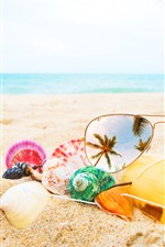 Preview iPhone wallpaper Sunglass, seashell, beach, sea