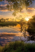 Preview iPhone wallpaper Sunset scenery, trees, grass, river, sunshine