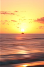 Preview iPhone wallpaper Sunset, sea, ship